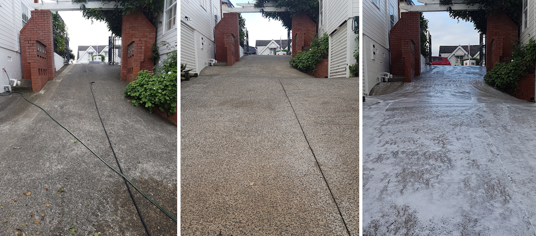 Paving, Driveway Cleaning Before & After in North Shore