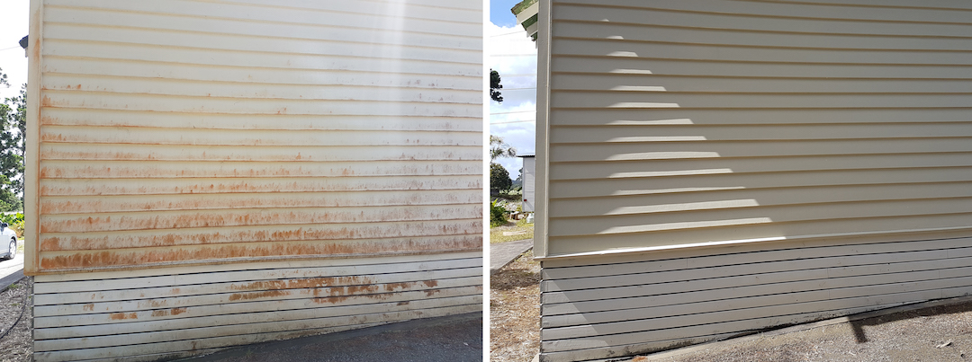 Exterior House Washing Before & After in North Shore